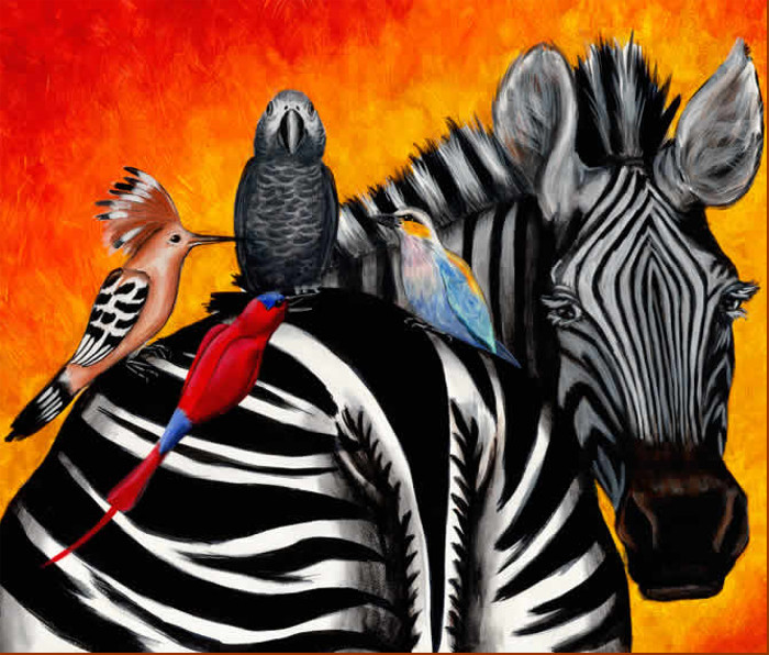 zebra, african birds, wild life painting, artist Robin Moulyn