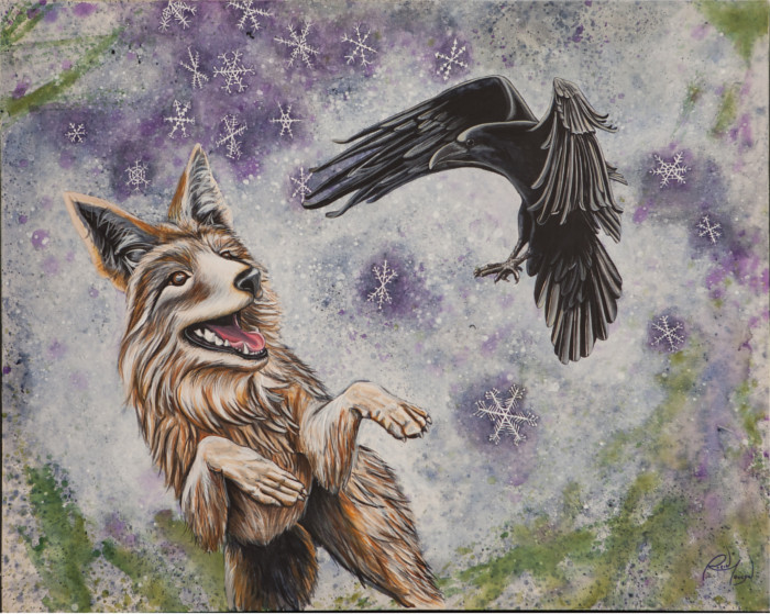 Coyote & Raven, wild life painting, artist Robin Moulyn