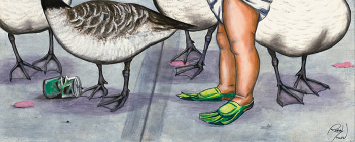 canadian geese, baby, peer pressure, wild life painting, artist Robin Moulyn