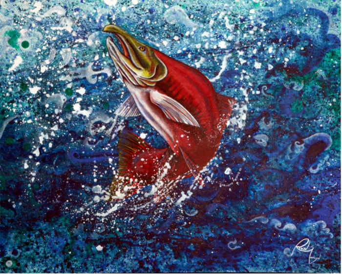 salmon, sockeye salmon, red fish, wild life painting, artist Robin Moulyn